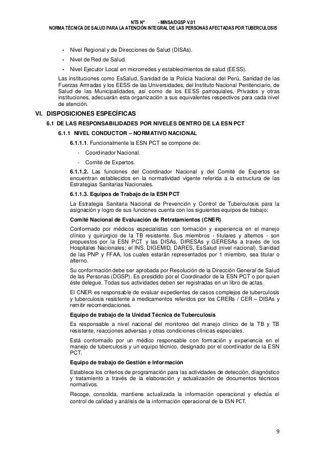 NTS Nº - MINSA/DGSP V.01 NORMA TÉCNICA DE SALUD PARA LA ATENCIÓN INTEGRAL DE LAS PERSONAS AFECTADAS POR TUBERCULOSIS  -  N...