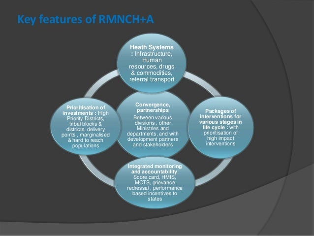 Key features of RMNCH+A Convergence, partnerships Between various divisions , other Ministries and departments, and with d...