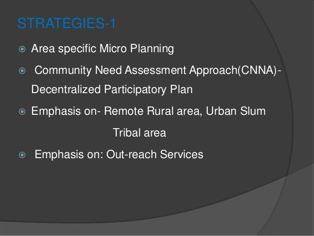 STRATEGIES-1  Area specific Micro Planning  Community Need Assessment Approach(CNNA)- Decentralized Participatory Plan ...