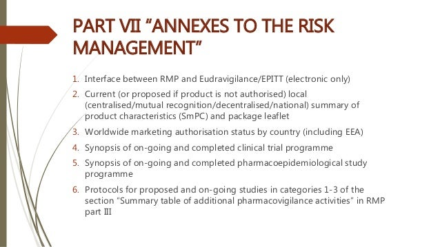 """PART VII """"ANNEXES TO THE RISK MANAGEMENT"""" 1. Interface between RMP and Eudravigilance/EPITT (electronic only) 2. Current (..."""