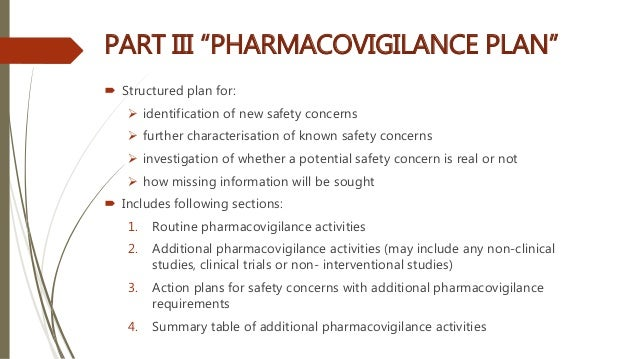 """PART III """"PHARMACOVIGILANCE PLAN""""  Structured plan for:  identification of new safety concerns  further characterisatio..."""