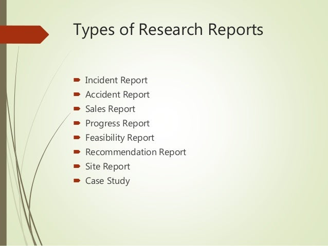 Kinds of report writing