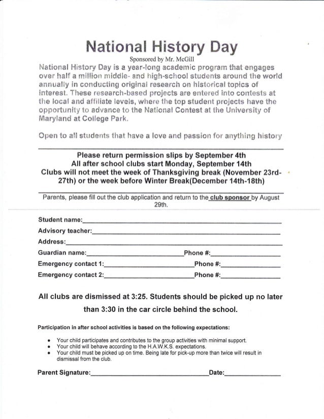 RMS After School Club Applications 2015 2016