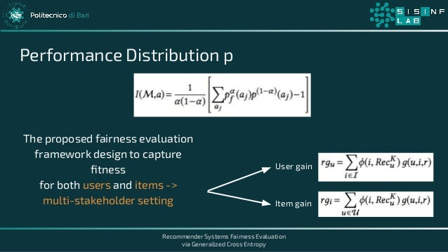 Recommender Systems Fairness Evaluation via Generalized Cross Entropy Performance Distribution p The proposed fairness eva...