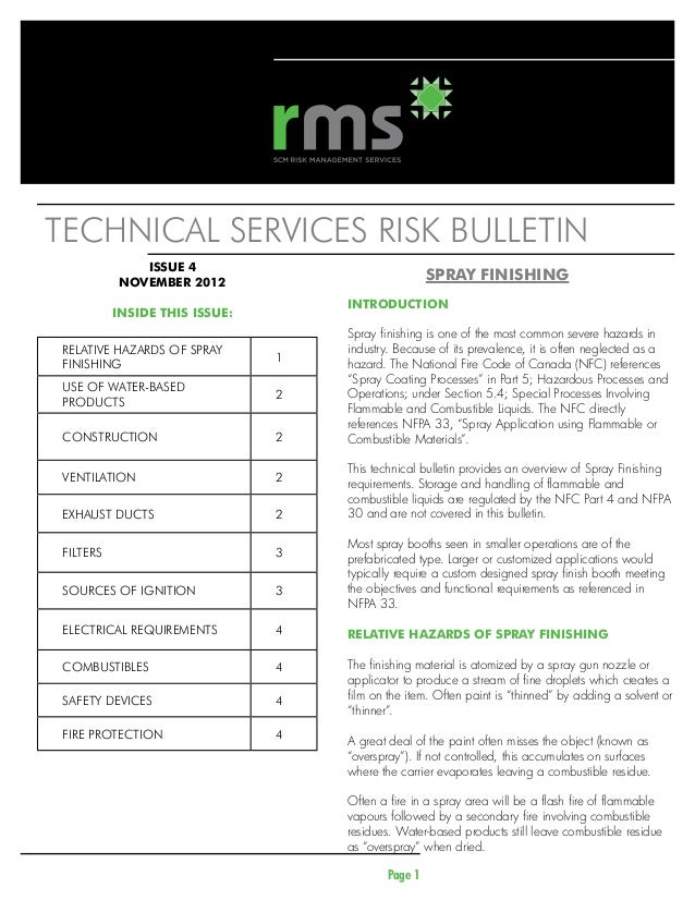 Technical services risk bulletin              ISSUE 4           NOVEMBER 2012                                            ...