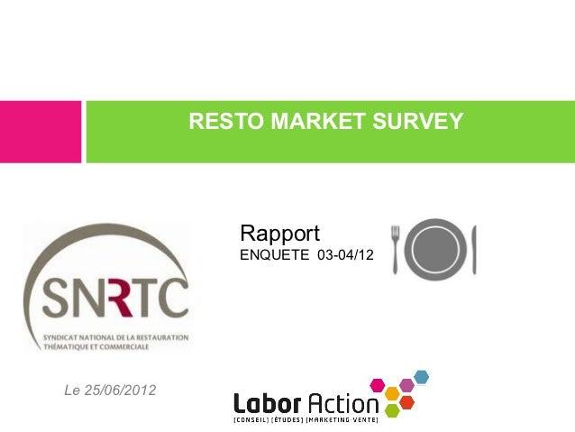 RESTO MARKET SURVEY                   Rapport                   ENQUETE 03-04/12Le 25/06/2012