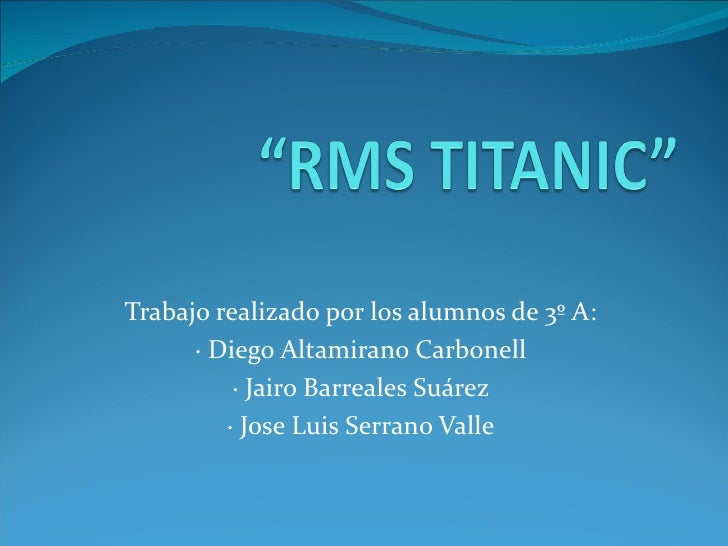 Trabajo realizado por los alumnos de 3º A:      · Diego Altamirano Carbonell          · Jairo Barreales Suárez         · J...