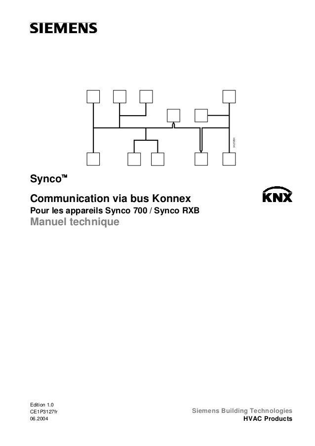 3127Z01  Synco™ Communication via bus Konnex Pour les appareils Synco 700 / Synco RXB  Manuel technique  Edition 1.0 CE1P3...