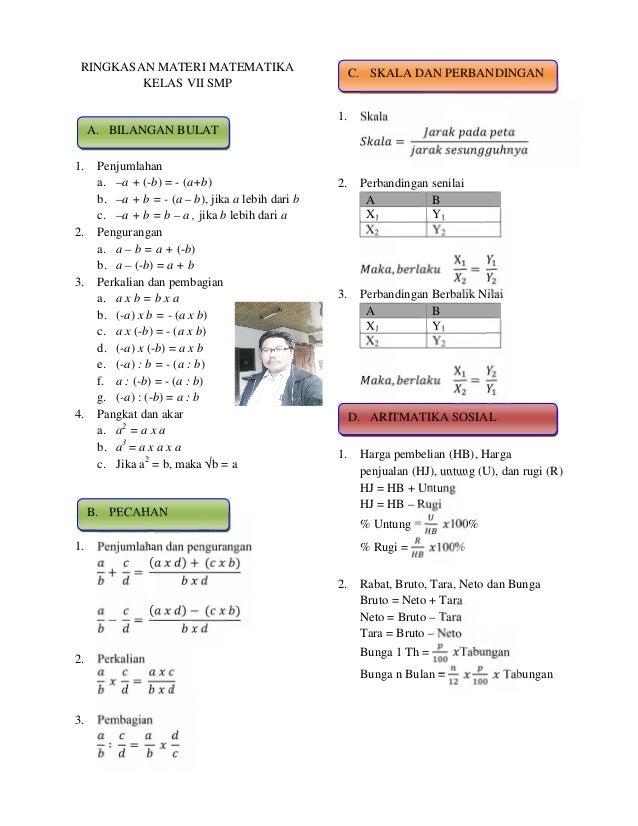 RINGKASAN MATERI MATEMATIKA KELAS VII SMP  C. SKALA DAN PERBANDINGAN =  1.  Skala  2.  Perbandingan senilai A B X1 Y1 X2 Y...