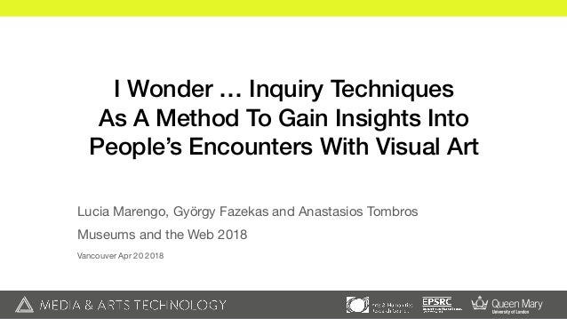 I Wonder … Inquiry Techniques As A Method To Gain Insights Into People's Encounters With Visual Art Lucia Marengo, György ...