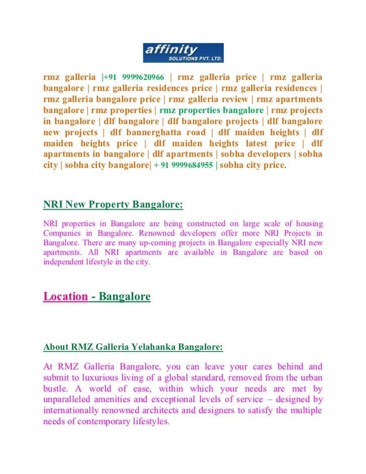 rmz galleria |+91 9999620966 | rmz galleria price | rmz galleriabangalore | rmz galleria residences price | rmz galleria r...