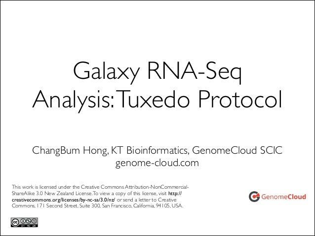 Galaxy RNA-Seq Analysis: Tuxedo Protocol ChangBum Hong, KT Bioinformatics, GenomeCloud SCIC  genome-cloud.com This work i...