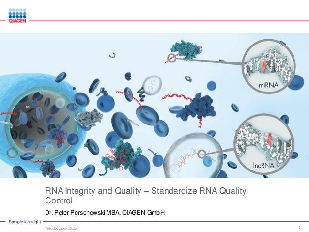 RNA Integrity and Quality – Standardize RNA Quality Control