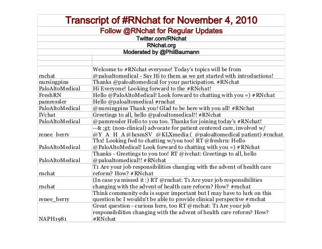 Transcript of #RNchat for November 4, 2010 Follow @RNchat for Regular Updates Twitter.com/RNchat RNchat.org Moderated by @...
