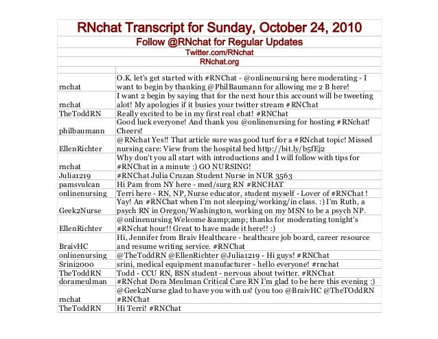 RNchat Transcript for Sunday, October 24, 2010 Follow @RNchat for Regular Updates Twitter.com/RNchat RNchat.org rnchat O.K...