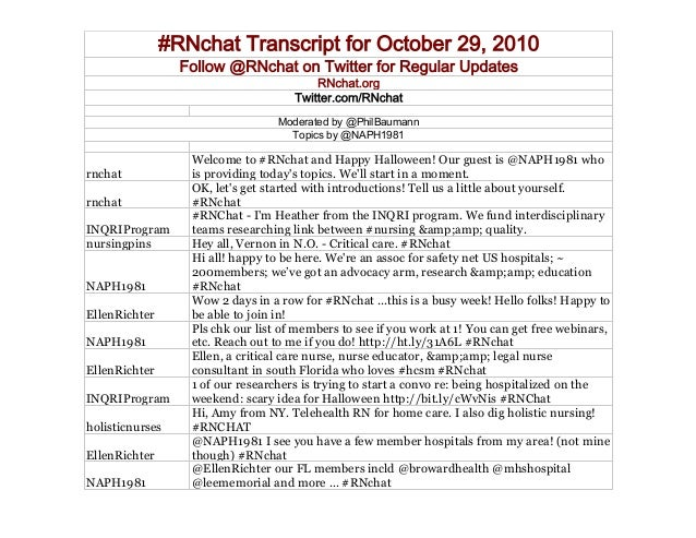 #RNchat Transcript for October 29, 2010 Follow @RNchat on Twitter for Regular Updates RNchat.org Twitter.com/RNchat Modera...