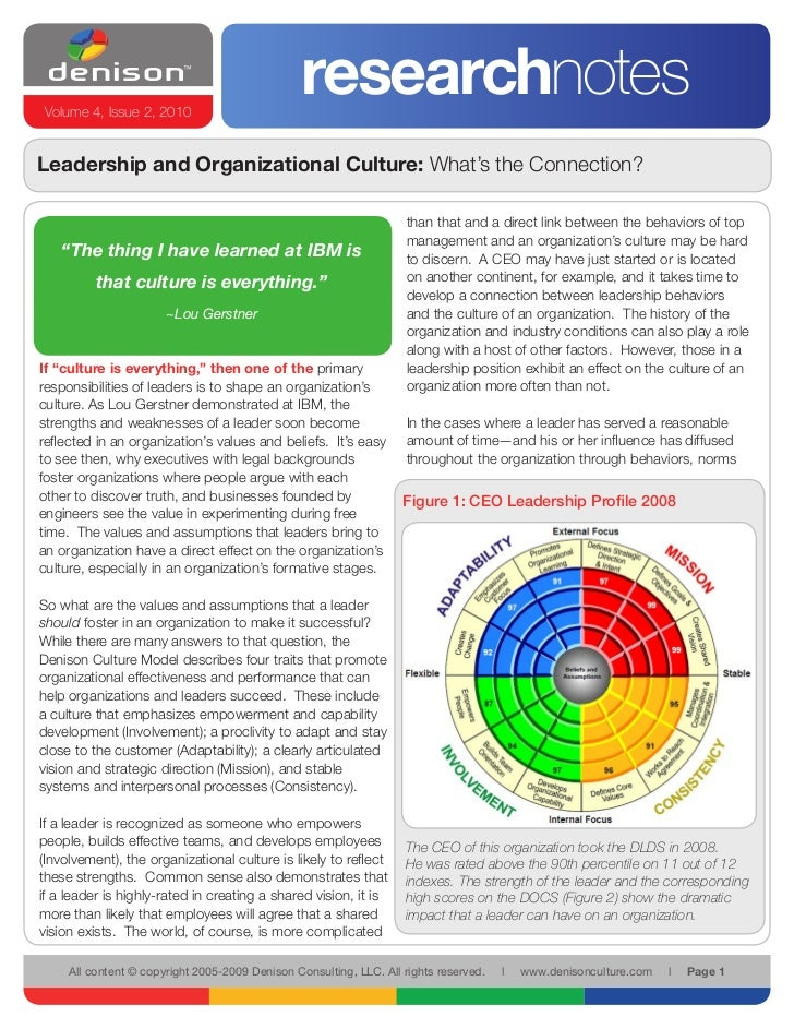 Volume 4, Issue 2, 2010                                                  researchnotes Leadership and Organizational Cultu...