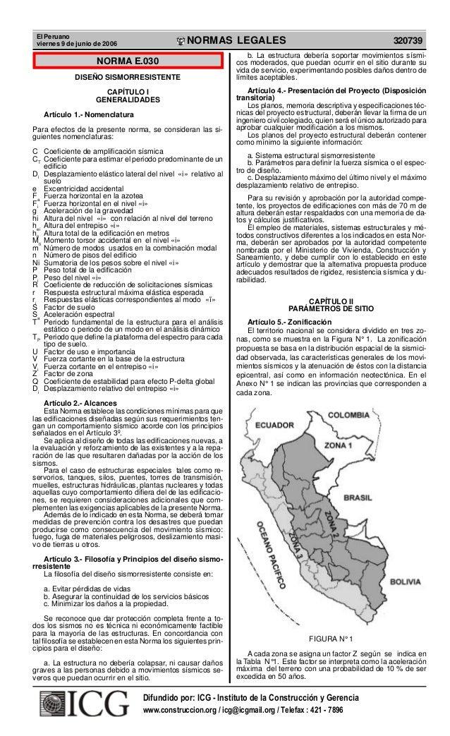 El Peruano viernes 9 de junio de 2006 320739NORMAS LEGALES R EPUBLICA DEL PER U NORMA E.030 DISEÑO SISMORRESISTENTE CAPÍTU...