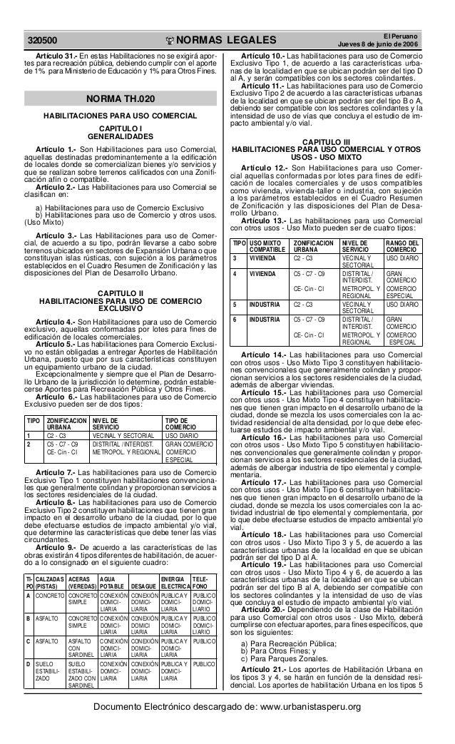 NORMAS LEGALESREPUBLICA DEL PERU320500El PeruanoJueves 8 de junio de 2006Artículo 31.- En estas Habilitaciones no se exigi...