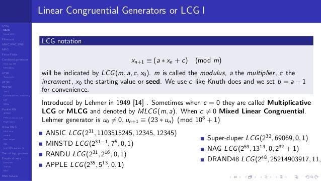 Random Number Generators 2018