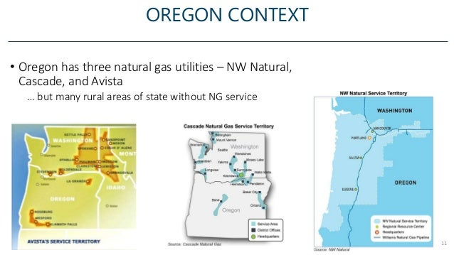 OREGON CONTEXT 11 • Oregon has three natural gas utilities – NW Natural, Cascade, and Avista … but many rural areas of sta...
