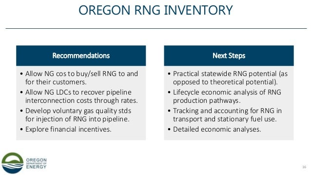 OREGON RNG INVENTORY Recommendations • Allow NG cos to buy/sell RNG to and for their customers. • Allow NG LDCs to recover...
