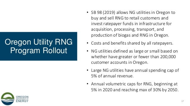 Oregon Utility RNG Program Rollout • SB 98 (2019) allows NG utilities in Oregon to buy and sell RNG to retail customers an...