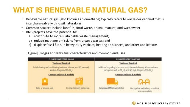 WHAT IS RENEWABLE NATURAL GAS? • Renewable natural gas (also known as biomethane) typically refers to waste-derived fuel t...