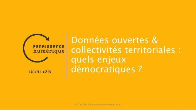 CC BY-SA 3.0 Renaissance Numérique 1 Données ouvertes & collectivités territoriales : quels enjeux démocratiques ?Janvier ...