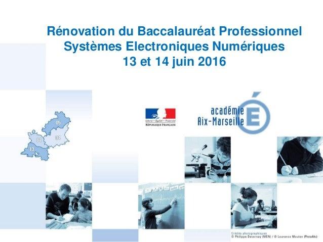 1 Rénovation du Baccalauréat Professionnel Systèmes Electroniques Numériques 13 et 14 juin 2016