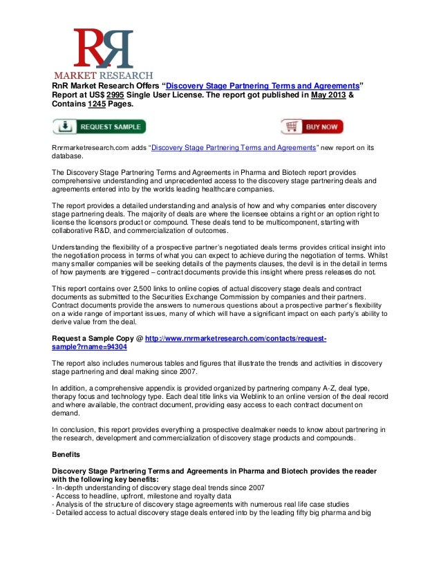 """RnR Market Research Offers """"Discovery Stage Partnering Terms and Agreements""""Report at US$ 2995 Single User License. The re..."""