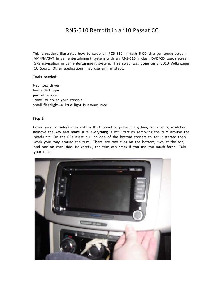 Rns 510 10 vw passat cc installation guide