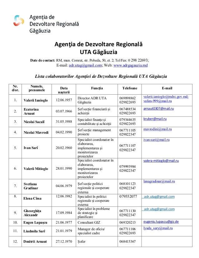 Agenţia de Dezvoltare Regională UTA Găgăuzia Date de contact: RM, mun. Comrat, str. Pobeda, 50, et. 2; Tel/Fax: 0 298 2269...