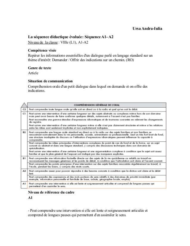 Ursa Andra-IuliaLa séquence didactique évaluée: Séquence A1- A2Niveau de la classe : VIIIe (L1), A1-A2Compétence viséeRepé...