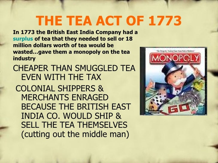The tea act of 1773 essay