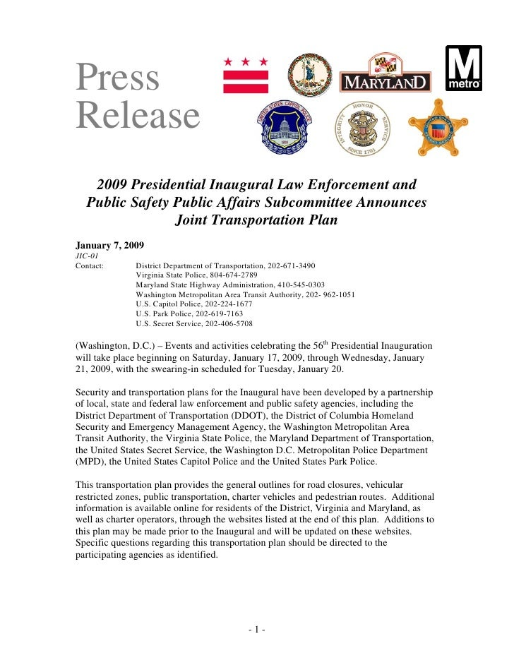 Press Release     2009 Presidential Inaugural Law Enforcement and    Public Safety Public Affairs Subcommittee Announces  ...