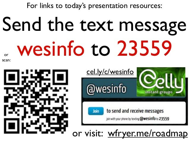 For links to today's presentation resources: Send the text message wesinfo to 23559 or visit: wfryer.me/roadmap cel.ly/c/w...