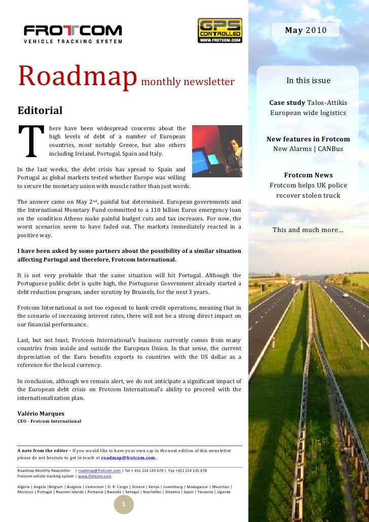 May 2010     Roadmap                                                            monthly newsletter                        ...