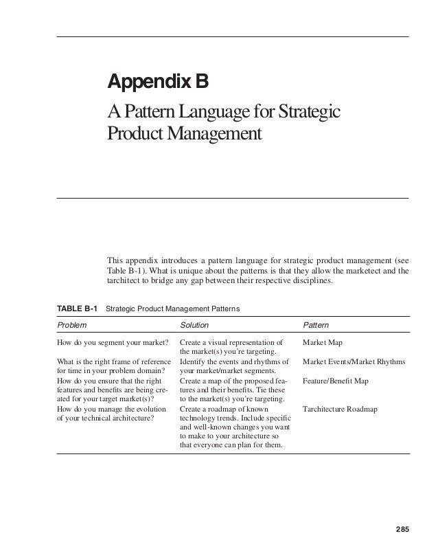 285  Appendix B  A Pattern Language for Strategic  Product Management  This appendix introduces a pattern language for str...