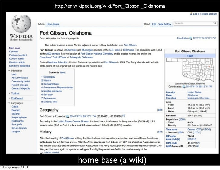 http://en.wikipedia.org/wiki/Fort_Gibson,_Oklahoma                                  home base (a wiki)Monday, August 22, 11