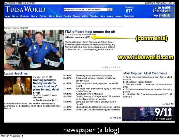 newspaper (a blog)Monday, August 22, 11