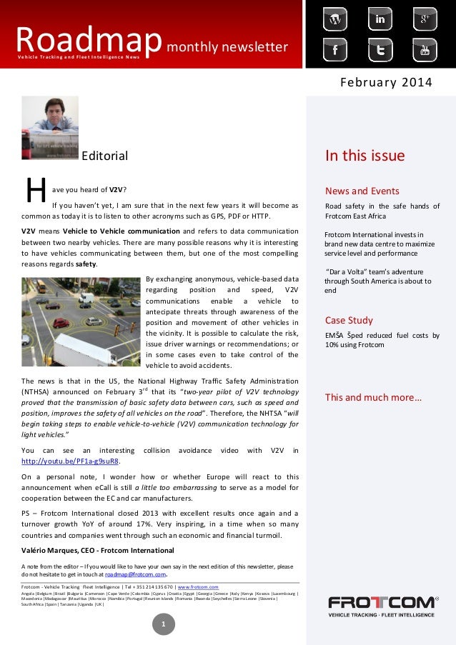 Roadmap monthly newsletter Vehicle Tracking and Fleet Intelligence News  February 2014  In this issue  Editorial  H  News ...