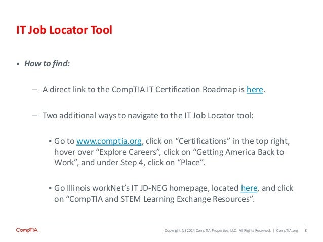 Introduction to the CompTIA Certification Roadmap and IT Job Locator …