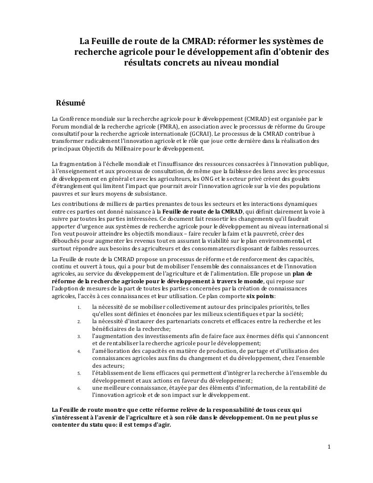 La Feuille de route de la CMRAD: réformer les systèmes de        recherche agricole pour le développement afin dobtenir de...