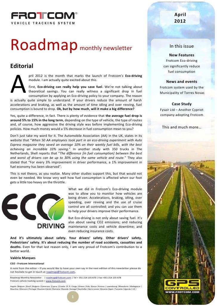 Roadmap monthly newsletter  - April 2012