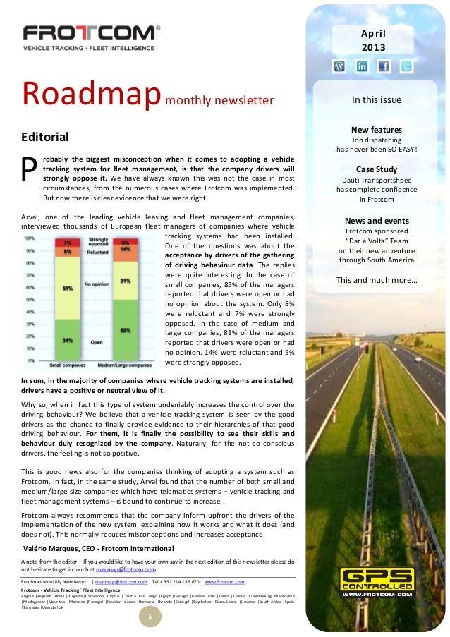 Roadmap Monthly Newsletter | roadmap@frotcom.com | Tel + 351 214 135 670 | www.frotcom.comFrotcom - Vehicle Tracking.Fleet...