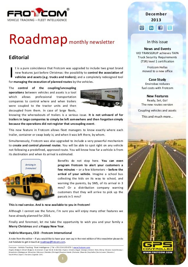 December 2013  Roadmap  monthly newsletter  News and Events VIO TRANSGRUP achieves TAPA Truck Security Requirements (TSR) ...