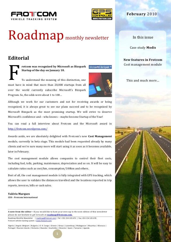 February 2010     Roadmap                                                            monthly newsletter                   ...