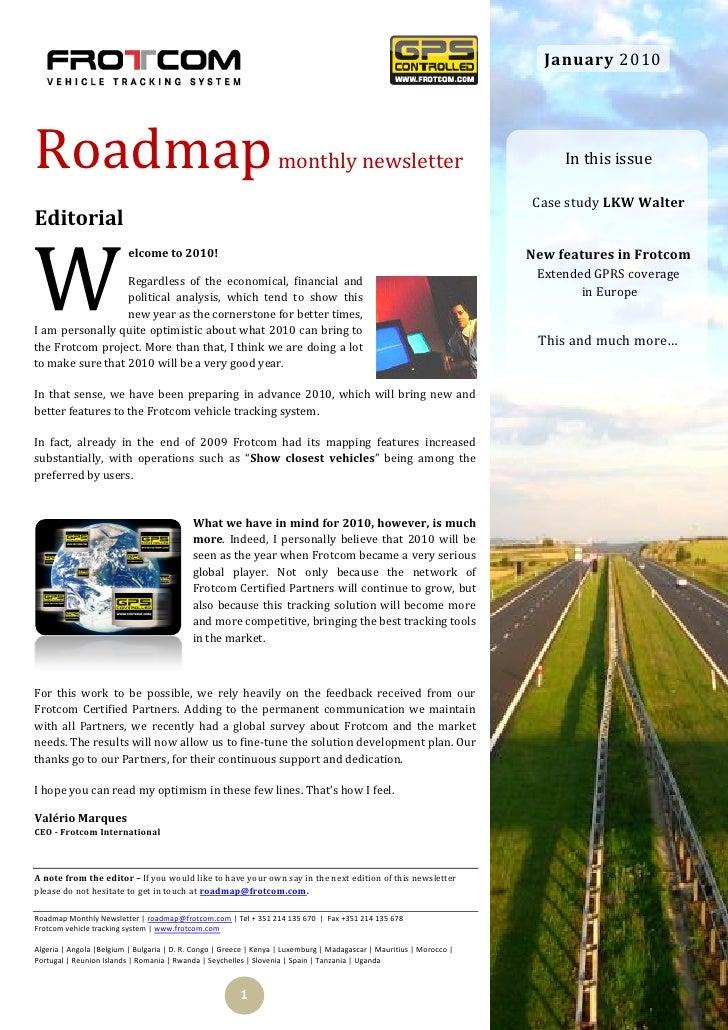 January 2010     Roadmap                                                            monthly newsletter                    ...
