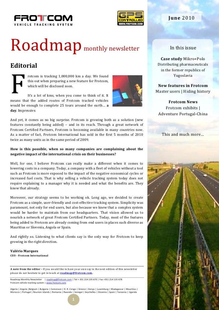 June 2010     Roadmap                                                            monthly newsletter                       ...